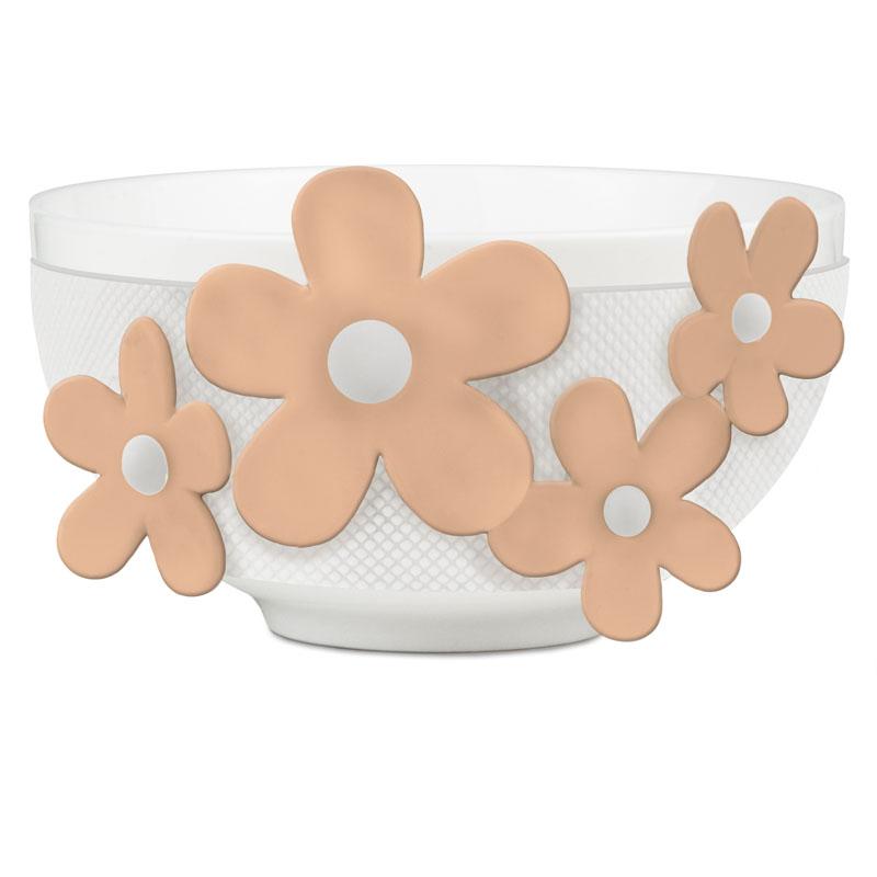 BACI MILANO - Bowl Ciotola Bianca Fiori Pesca ''Flower Glam''