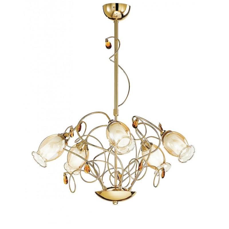I-ELY/5 - Lampadario sospeso a cinque luci e decori floreali40 watt E14