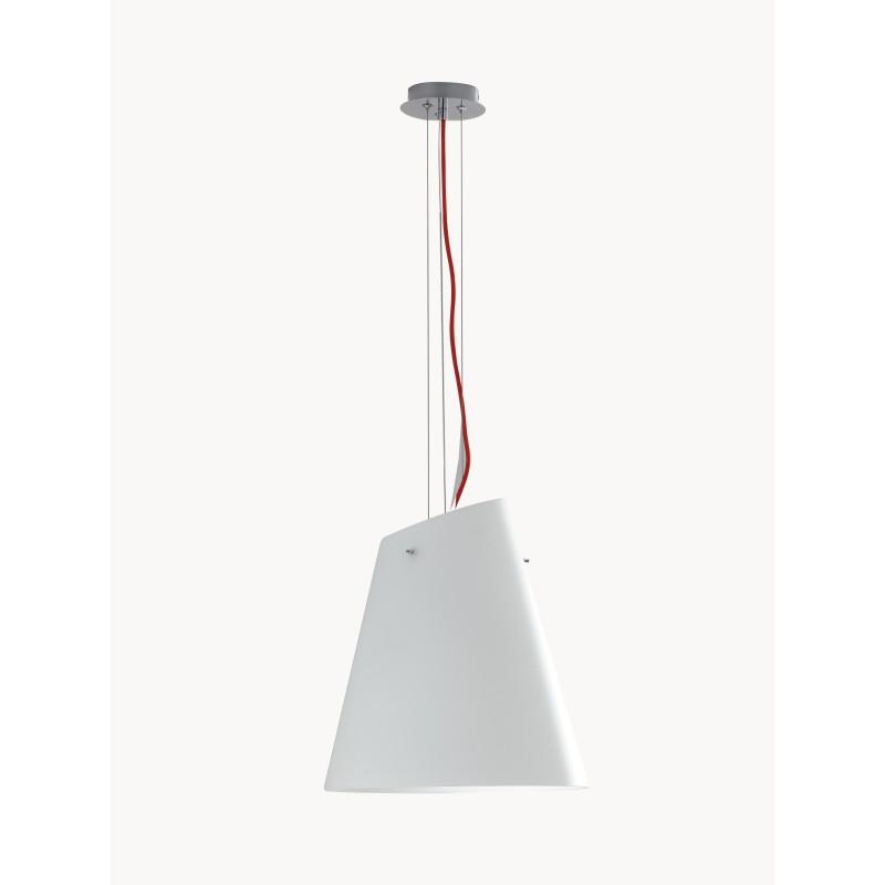 I-ERMES-S3 - Lampadario a sospensione a cono bianco 60 watt E27