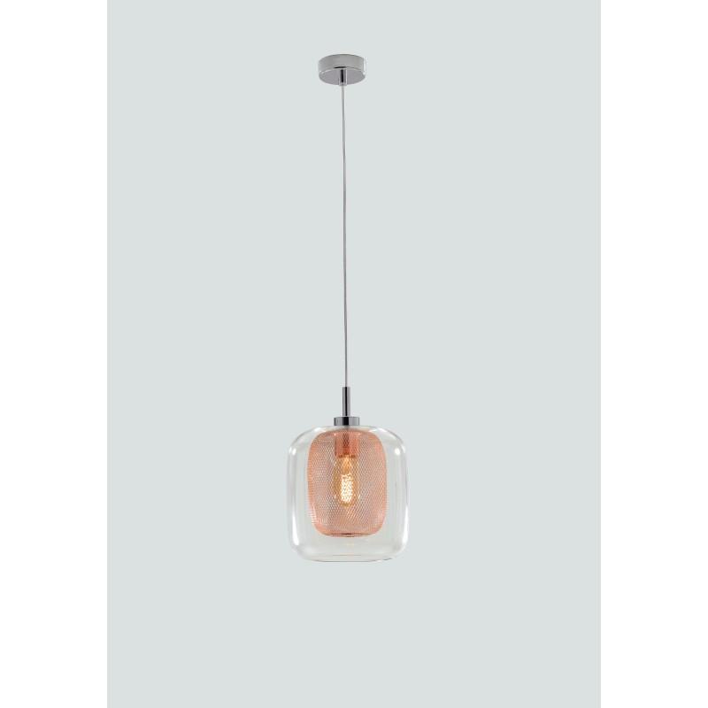 I-THESIS-S1- Pendente con paralume trasparente e arancio 60 watt E27