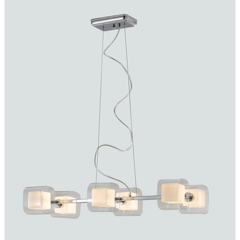 I-YOGA-S6 - Lampadario a sospensione con paralumi trasparenti e bianchi 42 watt G9
