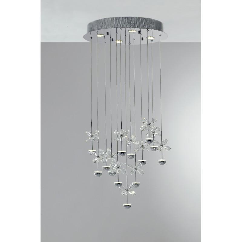 LED-BELEN-PL17 - Plafoniera cromata con luci led e decorazioni a forma di farfalla in cristallo 39 watt