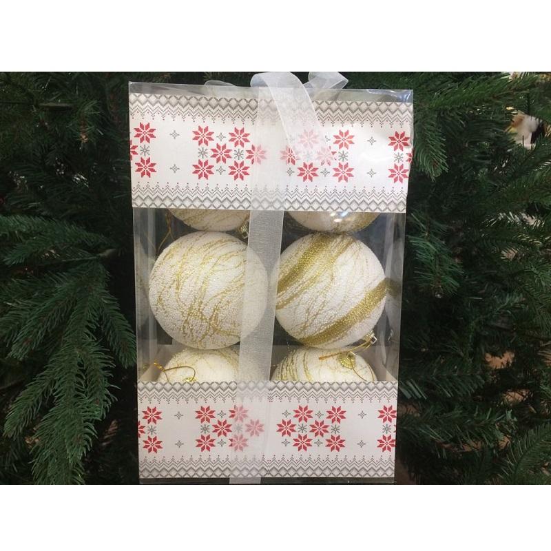 confezione 6 palline bianche nataluna