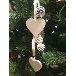 Decorazione albero di Natale pendente cuore legno