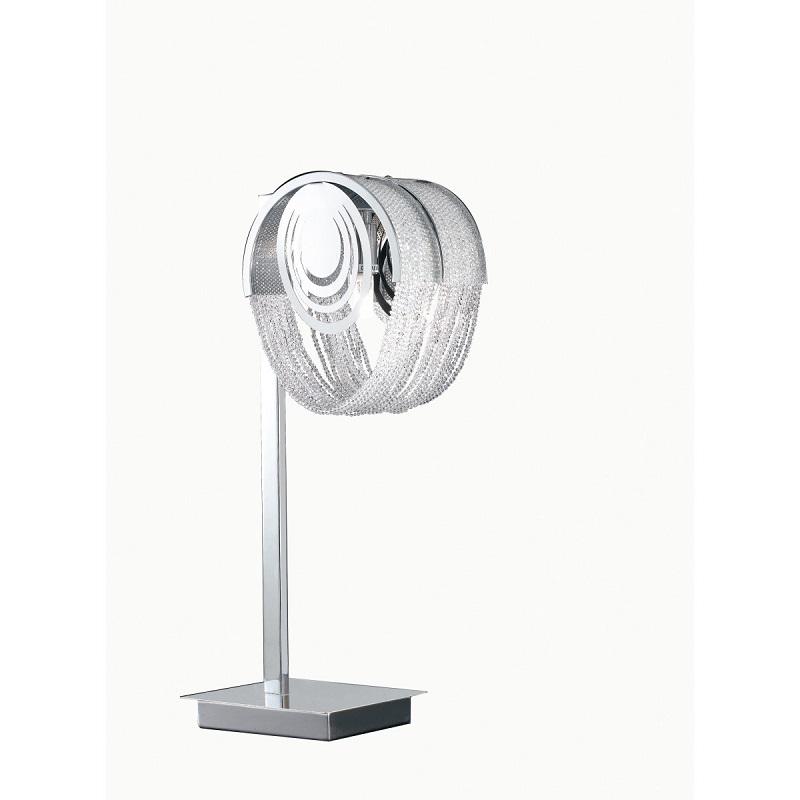 I-Lyrica/L1 - Lampada Da Tavolo Con Fili Di Cristalli Cromata 42 Watt G9