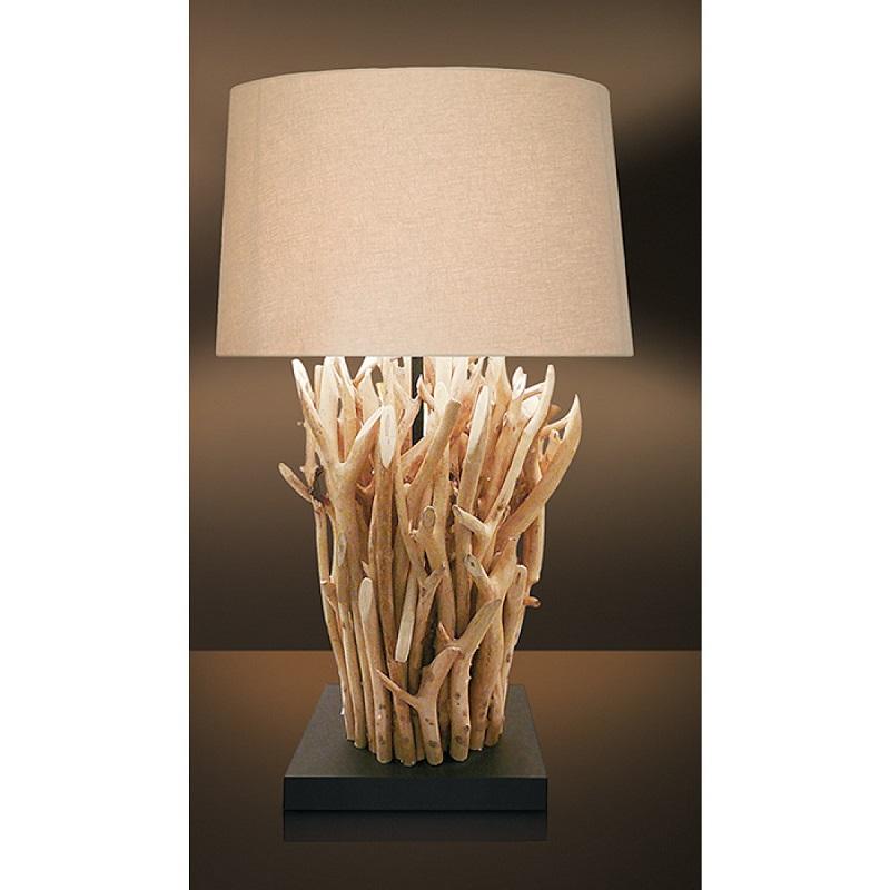 Lampada Da Tavolo Beige Con Legni Naturali 60 Watt E27