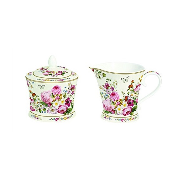 Lattiera e Zuccheriera in Porcellana Bianca Blooming Opulence