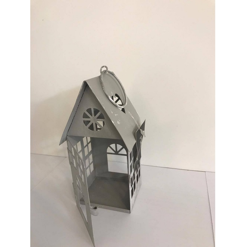 Casetta Lanterna grigio metallo 6x6xH13cm