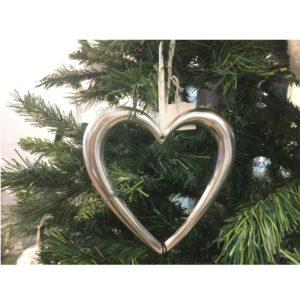 Decorazione albero di Natale cuore alluminio