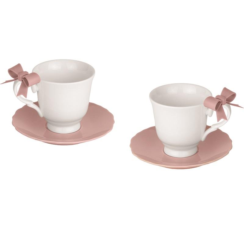 2pz Tazze Tea Fiocco Cipria