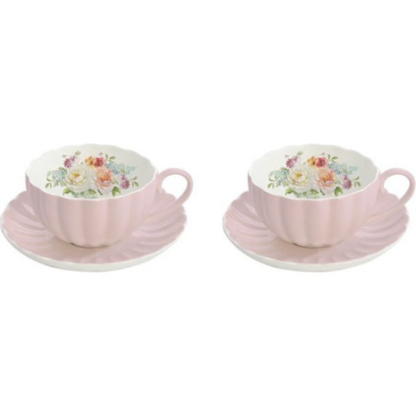 2pz Tazza Caffe' in Porcellana Rosa ROYAL