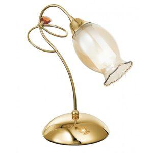 I-ELY/L1 ORO - Lampada da tavolo oro floreale con cristallo 40 watt E14