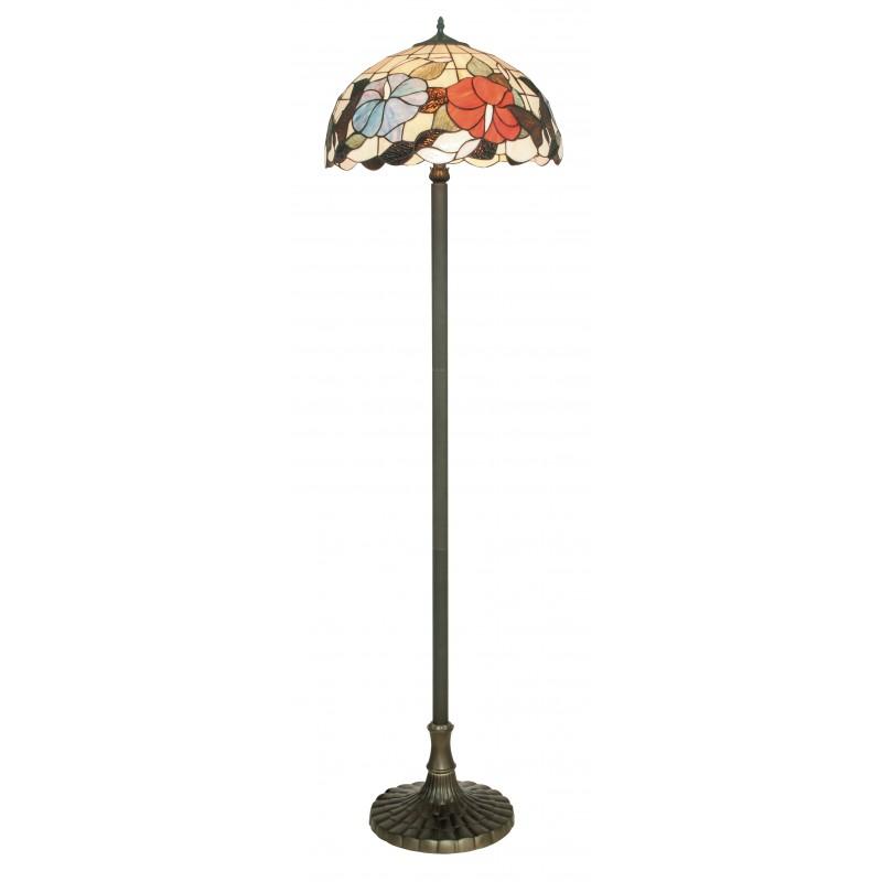 I-NINFA-PT - Lampada da terra Piantana in vetro decorato dai colori vivaci 60 watt E27