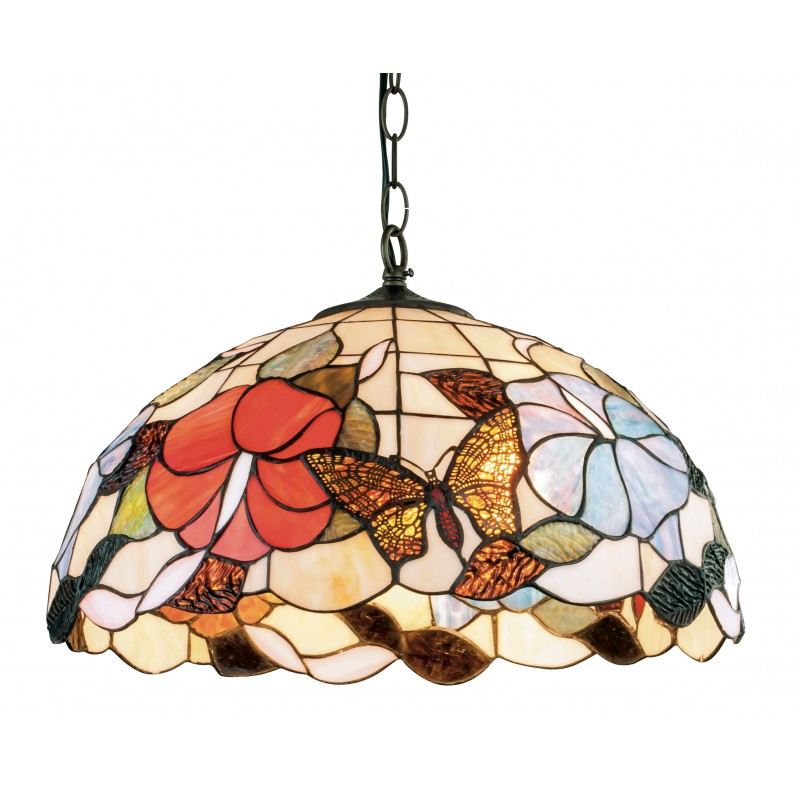I-NINFA-S - Lampadario sospeso raffinato con decorazione primaverili e colorate 60 watt E27
