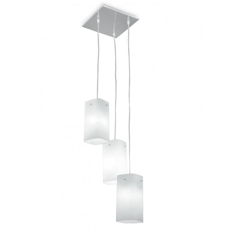 I-SQUARE/S3 - Lampadario a tre pendenti moderno e di colore bianco 60 watt E27