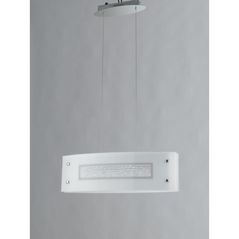 I-TRILOGY/S65 - Lampadario led a sospensione elegante con decorazione centrale in cristalli 40 watt