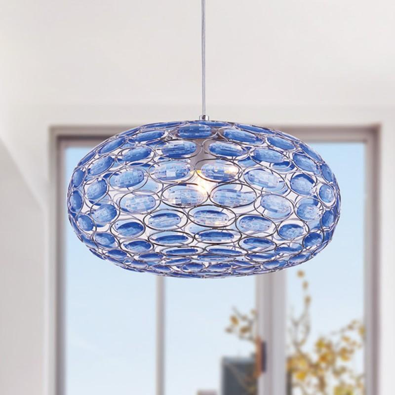 I-TURNER-S1 BLU - Lampadario a sospensione dalla forma ovale con cristalli colore blu 60 watt E27