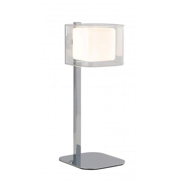 I-YOGA-L - Lampada da tavolo con paralume cubico cromata 42 watt G9
