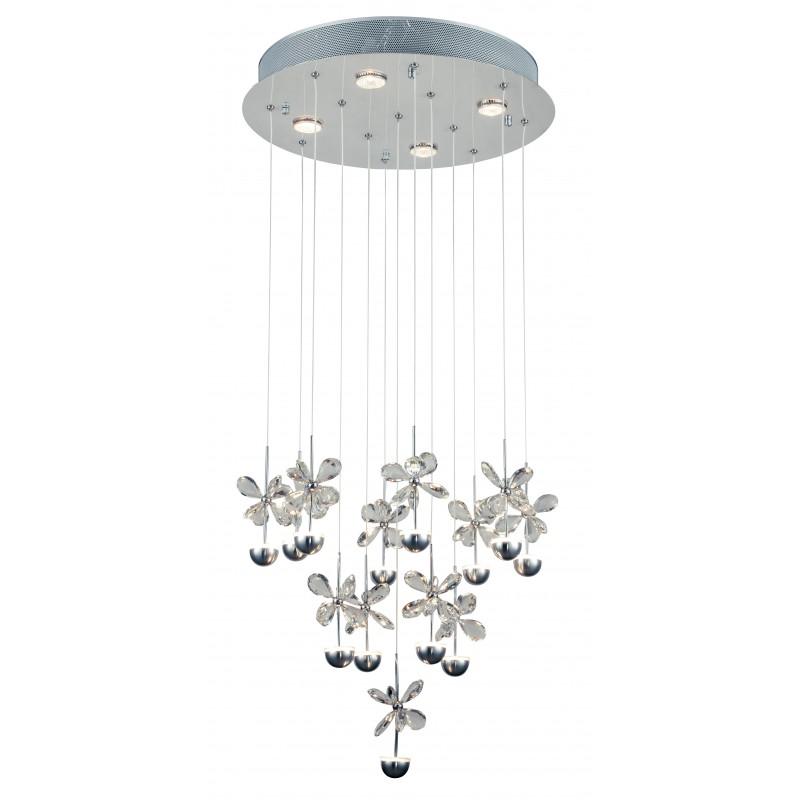 LED-BELEN-PL10 - Plafoniera led raffinata con decorazioni in cristallo dalla forma di farfalla 21 watt