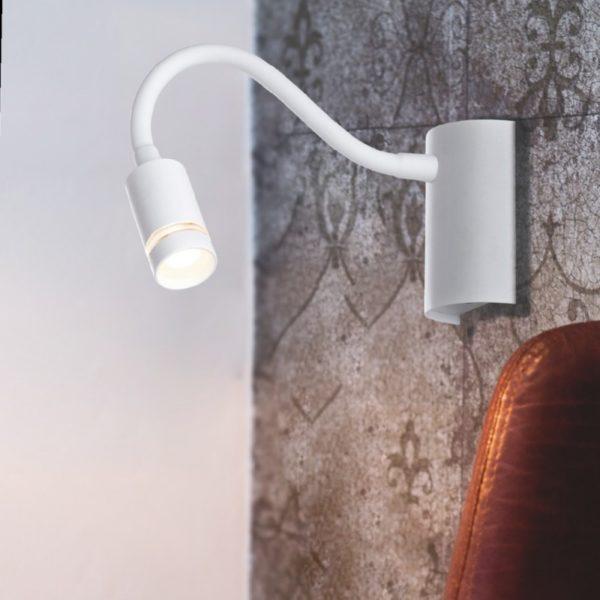 LED-KEPLER-BCO - Applique bianca con braccio flessibile e luce led 3 watt 3000 kelvin