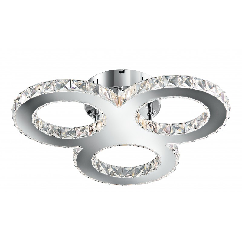 LED-MELODY/PL50 - Plafoniera a led dalla forma originale con tre anelli decorati con cristalli 27 watt