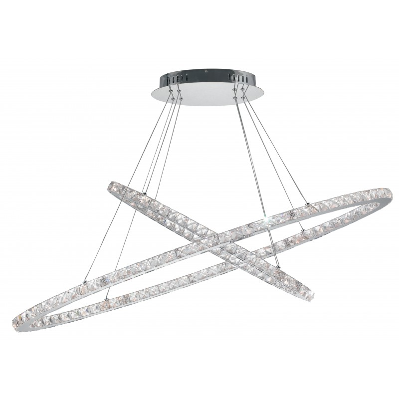 LED-MELODY/S120 - Lampadario cromato sospeso con due anelli intrecciati e luci led 54 watt