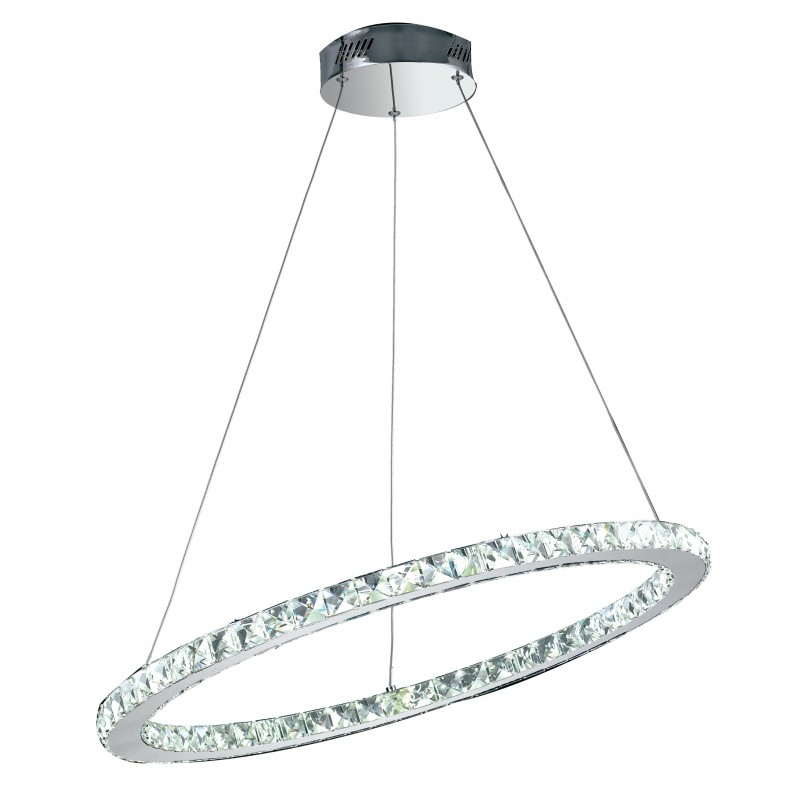 LED-MELODY/S70 - Lampadario cromato a led sospeso decorato con cristalli incastonati su un anello 36 watt