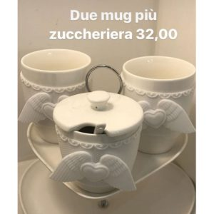 2 Mug Ali Bianco + Zuccheriera Ali Bianca
