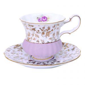 Tazza e piattino da tè in ceramica Easy Life Rosa